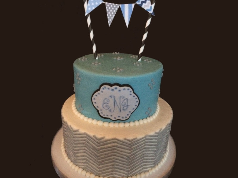 Chevron With Flag Baby Shower Cake