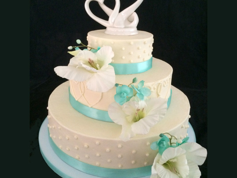 Teal With Hearts Wedding Cake